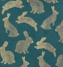 "Lokta Rabbits Gold on Green, 20"" x 30"""