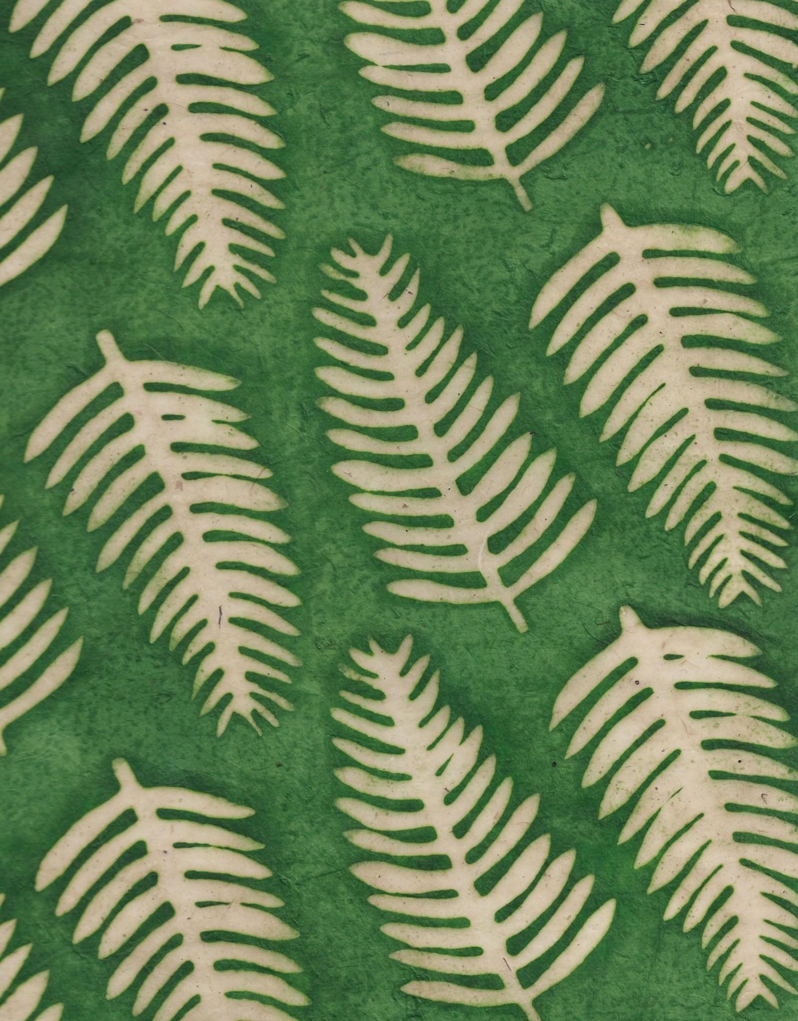"Batik Ferns on Green, 20""x 30"""