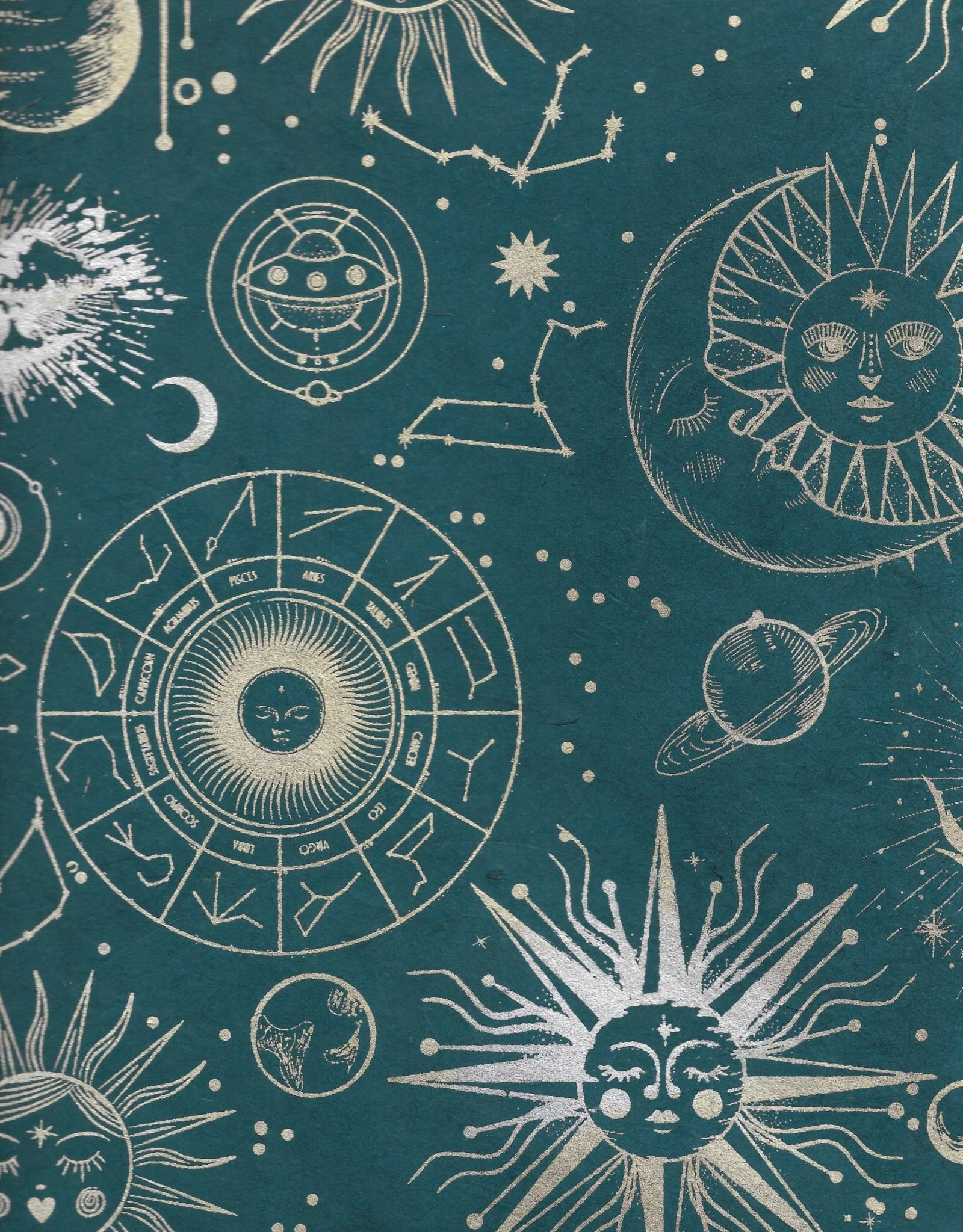 """Lokta Outer Space, Gold, Silver on Dark Teal, 20"""" x 30"""""""