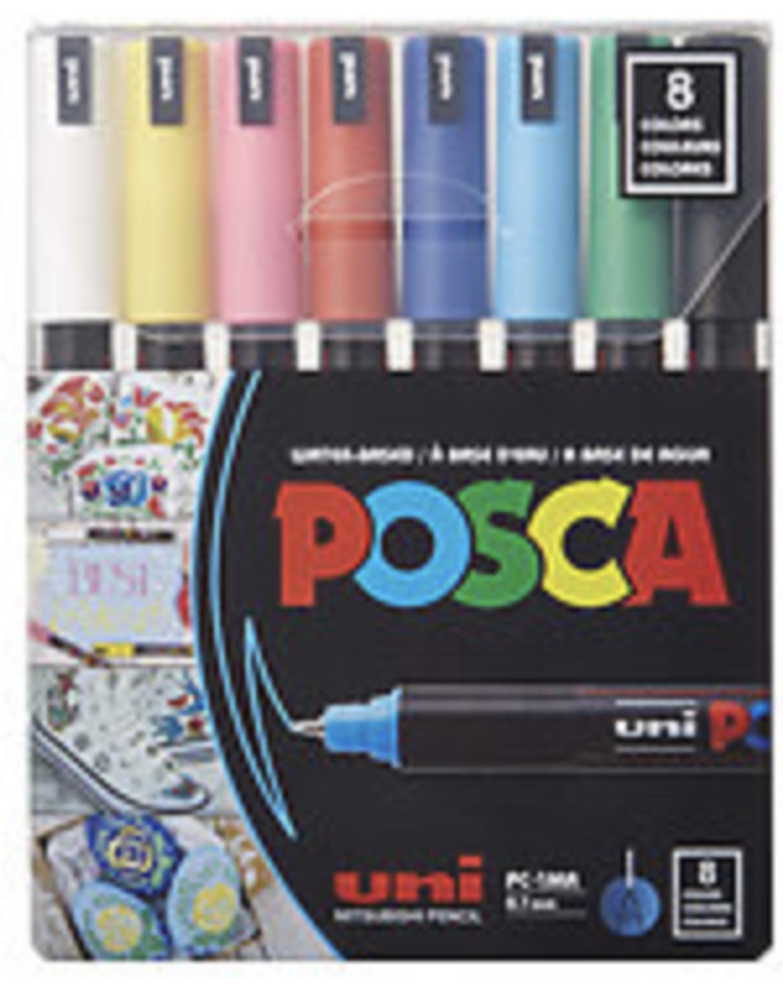 POSCA Paint Marker Set PC-1MR Extra-Fine , 8-Color Basic Set