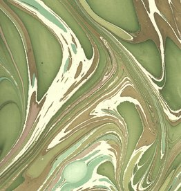 """Indian Marble: Green, Brown, Light Blue on White, Turkish Design, 22"""" x 30"""""""