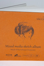 "SMLT Layflat Mixed Media Sketch Album, White, 5.5"" x 5.5"", 200gsm, 32 Sheets"