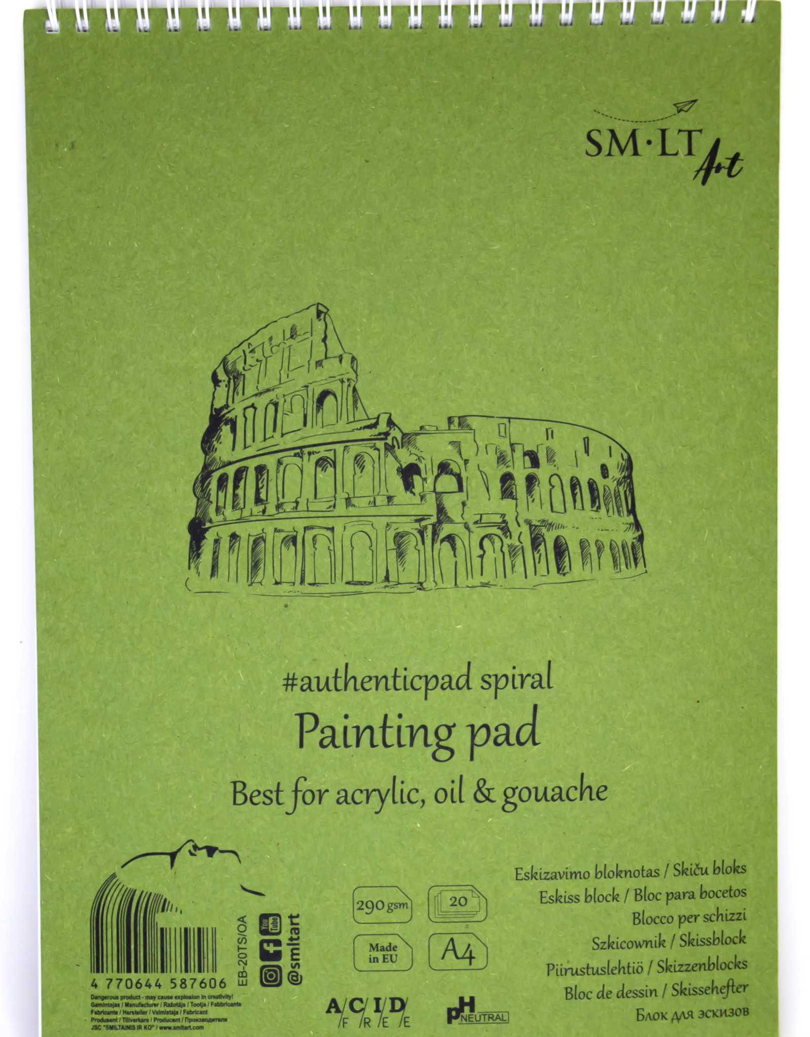 """SMLT Acrylic and Oil Painting Pad, White, 8.25"""" x 11"""" A4, 290gsm, 20 Sheets"""