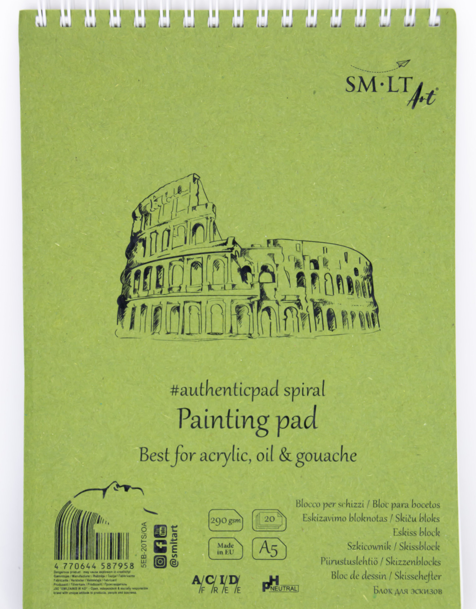 """SMLT Acrylic and Oil Painting Pad, White, 5.75"""" x 7.5"""" A5, 290gsm, 20 Sheets"""