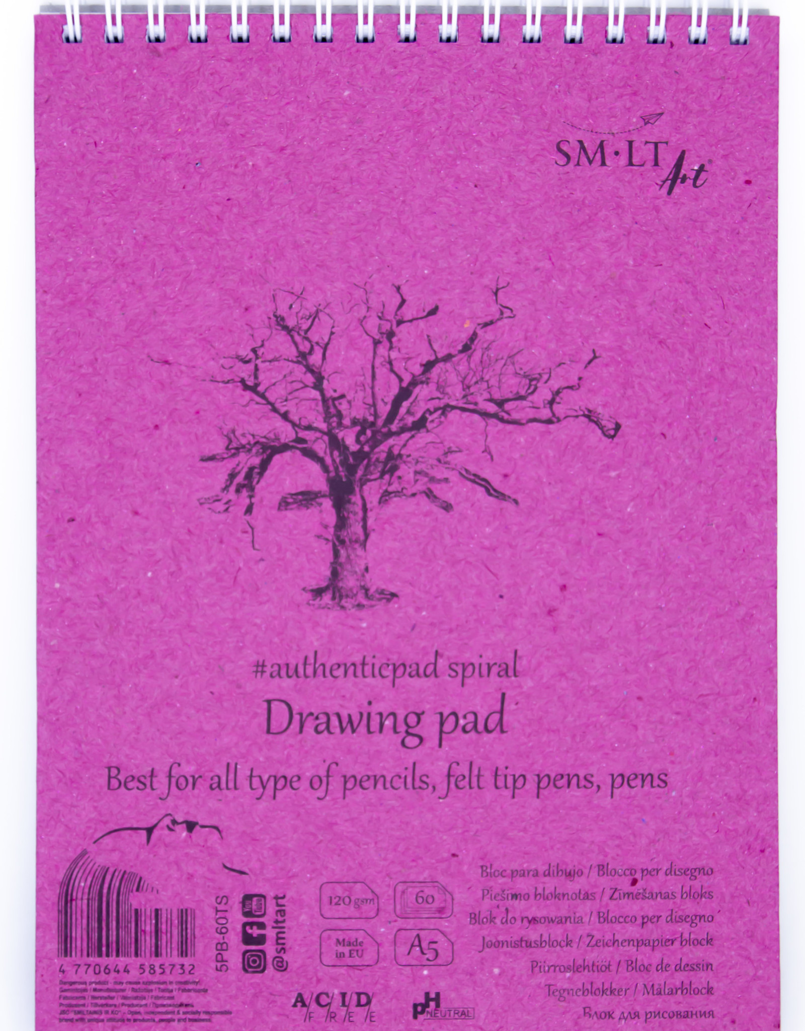 """SMLT Drawing Pad Authentic, White, 5.75"""" x 7.5"""" A5, 120gsm, 60 Sheets"""