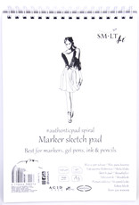 """SMLT Marker Pad, White Smooth, 5.75"""" x 7.5"""" A5, 100gsm, 40 Sheets"""