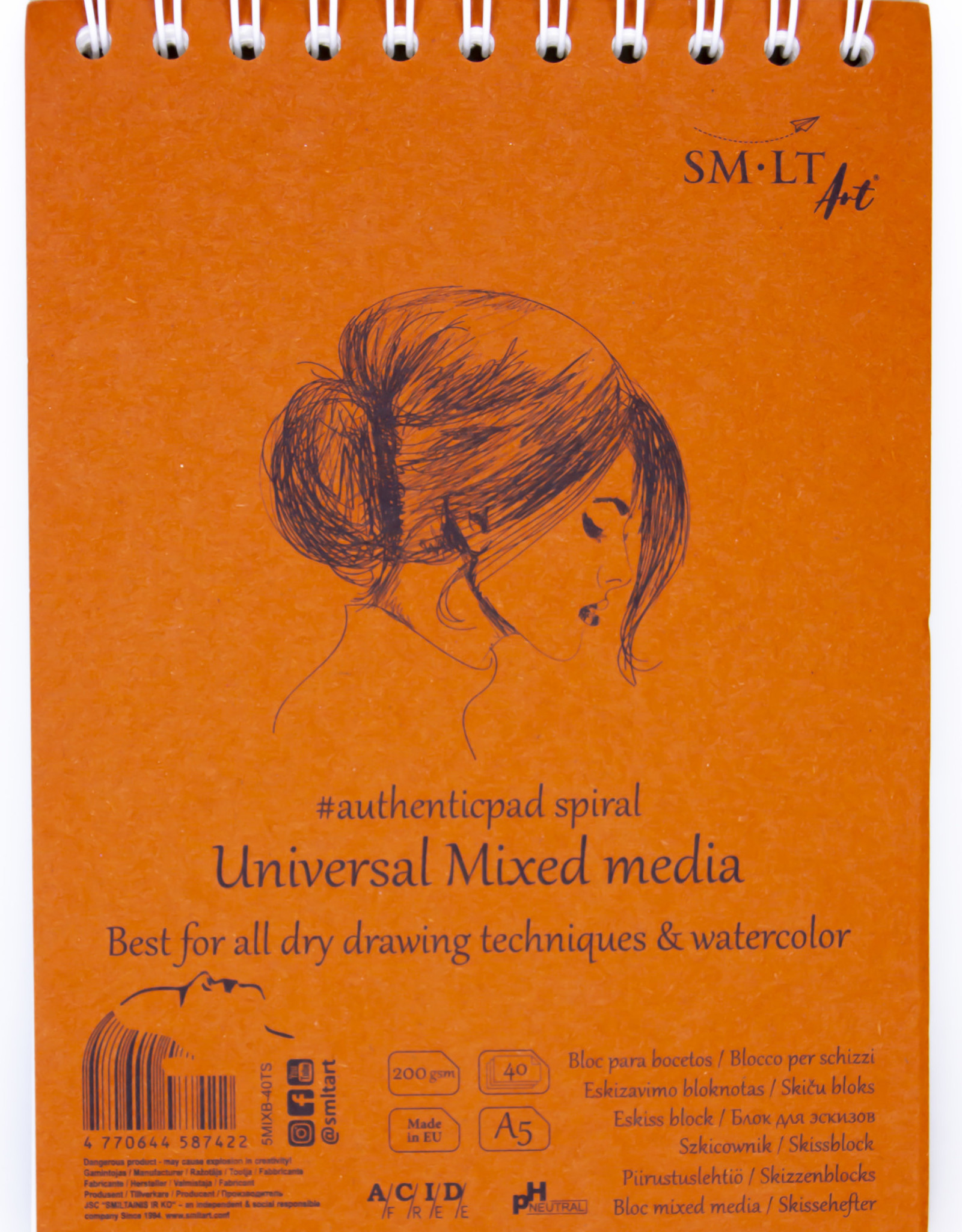 """SMLT Mixed Media Pad, White, 5.75"""" x 7.5"""" A5, 200gsm, 40 Sheets"""