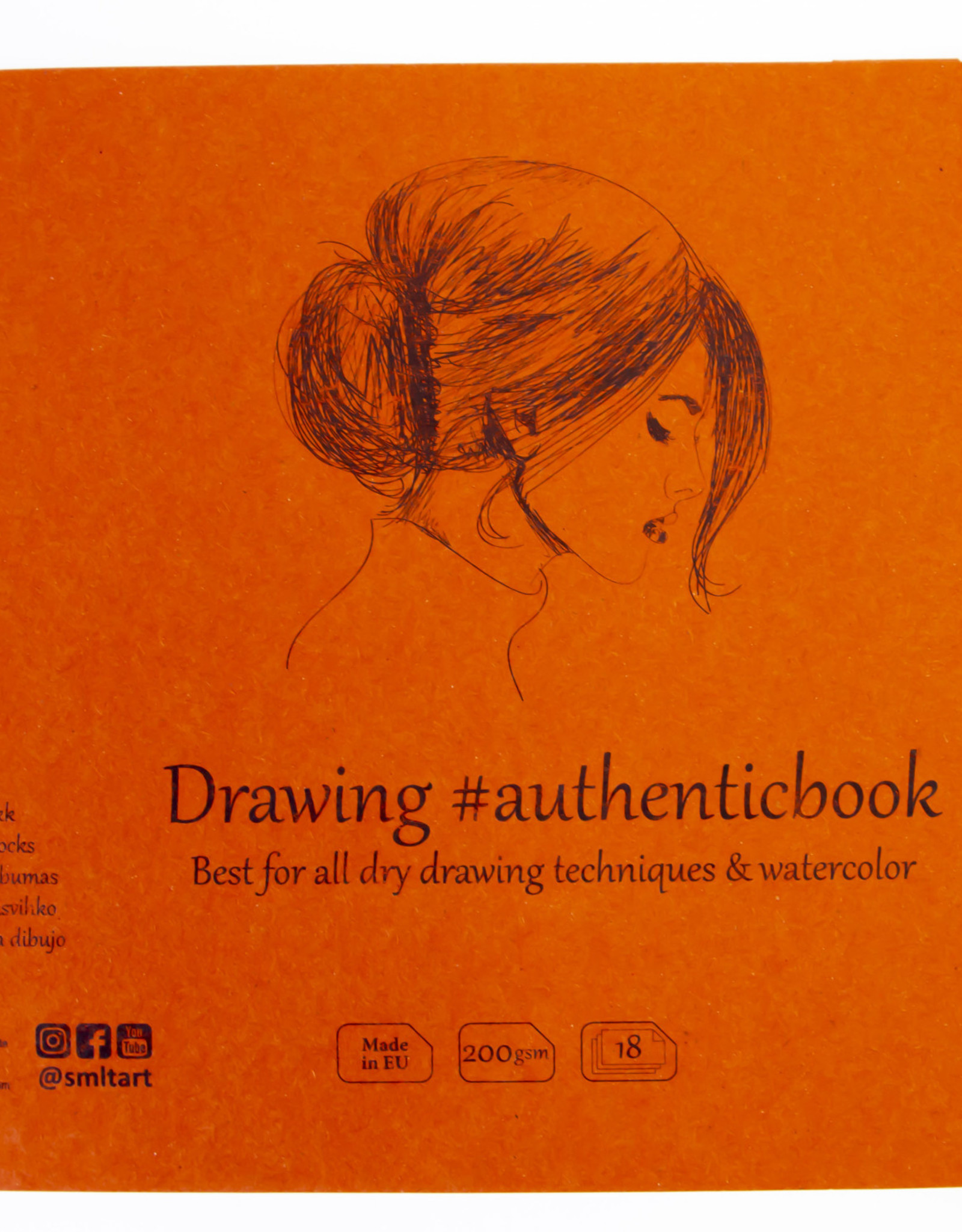 """SMLT Stitched Mixed Media Sketch Book, 9.6"""" x 6.9"""", 200gsm, 18 Sheets"""
