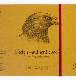 "SMLT Stitched Kraft Sketch Book, 9.6"" x 6.9"", 90gsm, 24 Sheets"