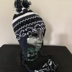 Wapiti Woolies Wapiti Woolies Hand Knit Flap Hat (Navy/White)