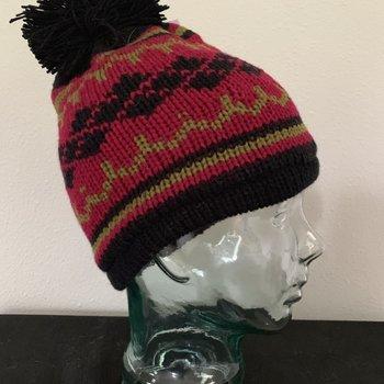Wapiti Woolies Wapiti Woolies Hand Knit Snow Cap (Black/Fuschia)