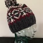 Wapiti Woolies Wapiti Woolies Hand Knit Snow Cap (Grey/Maroon)