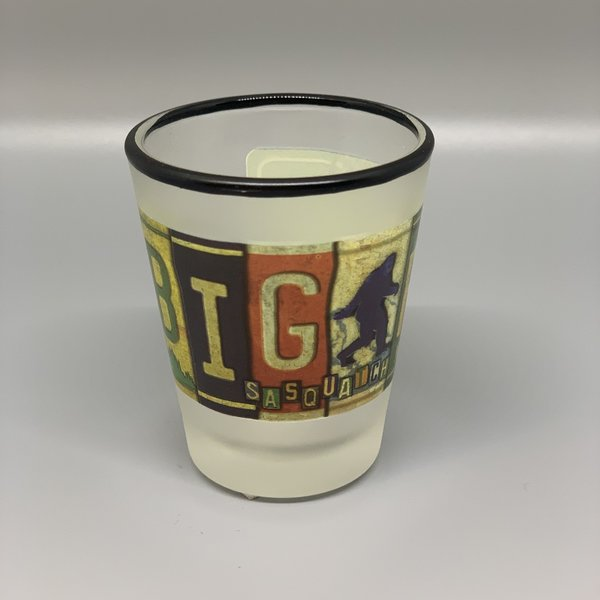 Bigfoot License Plate Frosted Shot Glass
