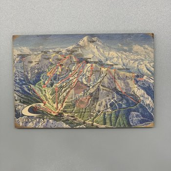 Crystal Mountain Clothing and Collectables Wooden Crystal Mountain Trail Map Magnet