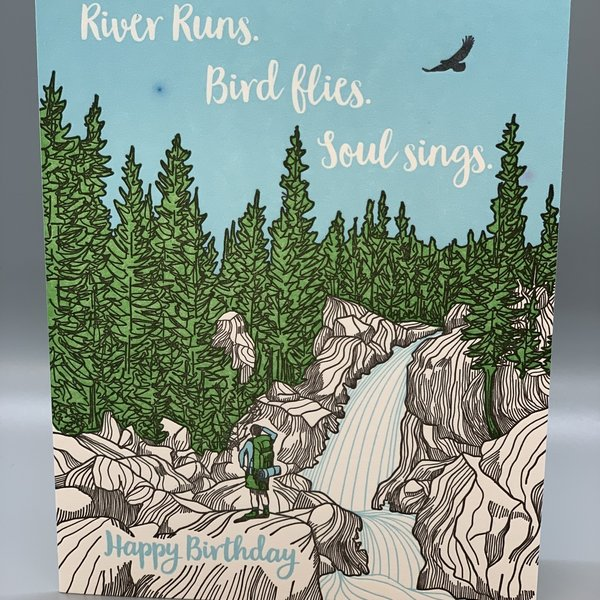 River Runs Bird Flies Birthday Card