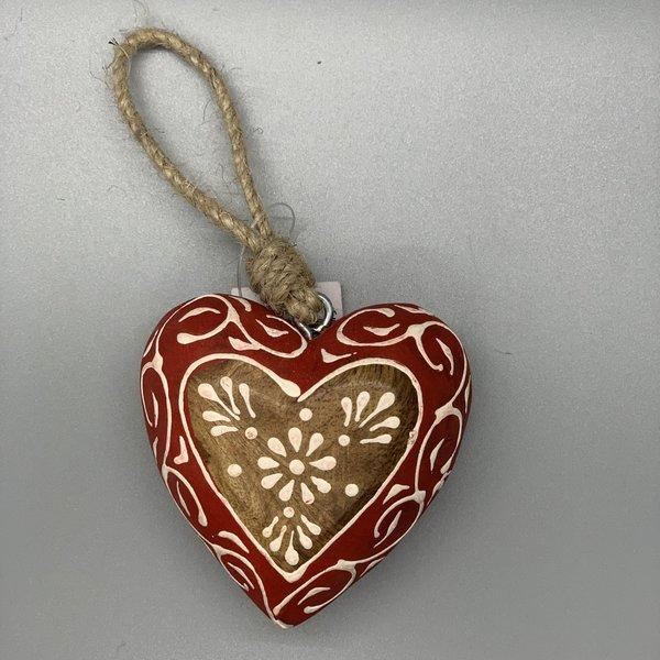 Flower Heart Wood Ornament