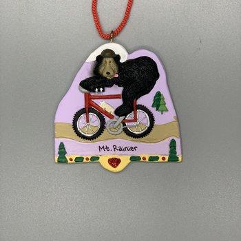Mt. Rainier Bear Riding a Bicycle Ornament