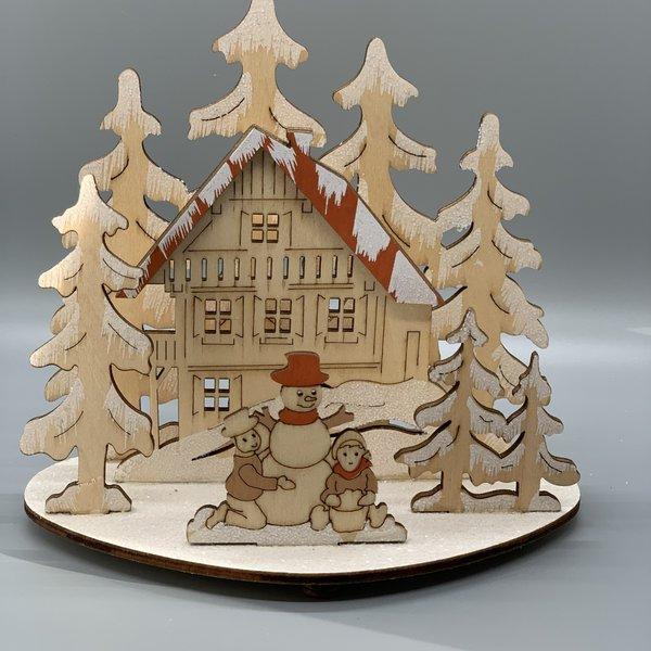 Wooden Winter Scene (Set of 4)