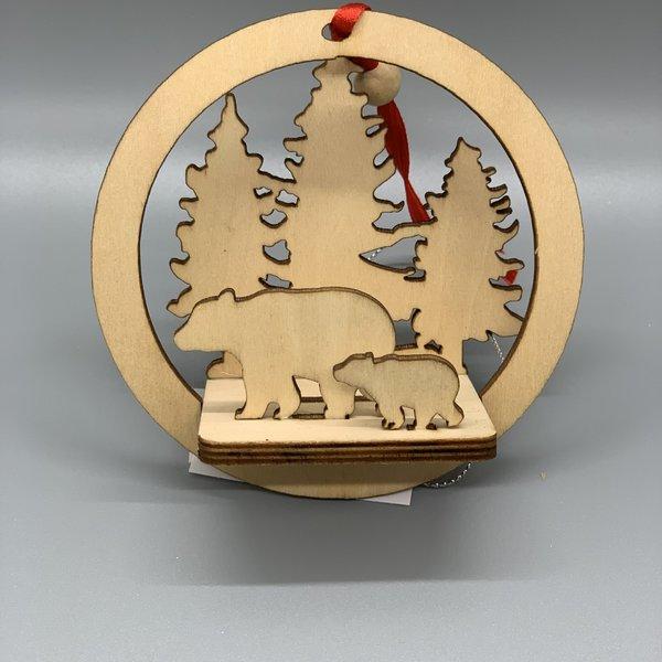 Wooden Winter Scene Ornament