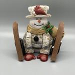 Skiing Snowman Figurine