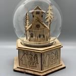 Wooden Reindeer Music Globe