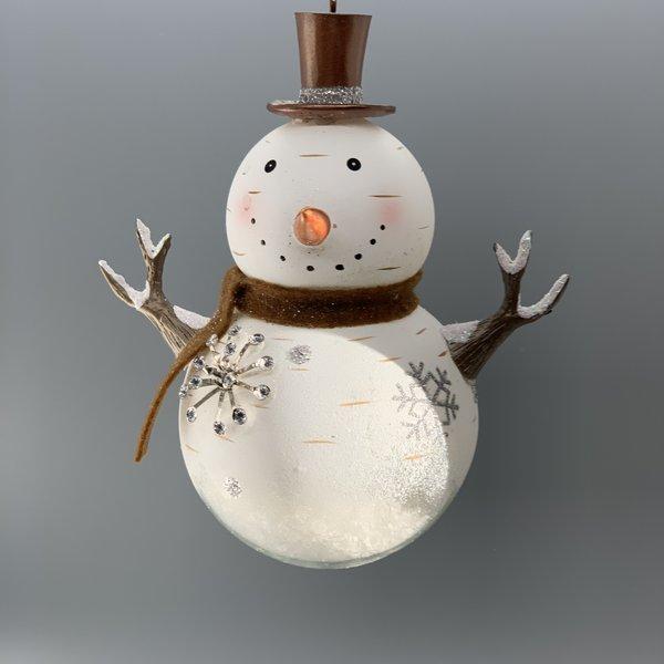 Snowman Snow Globe Glass Ornament