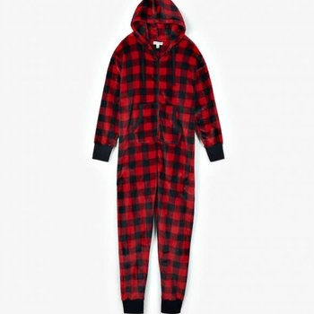 Adult Hooded Fleece Jumpsuit- Buffalo Plaid