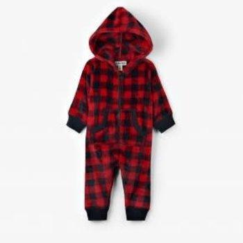 Infant Hooded Fleece Jumpsuit- Buffalo Plaid