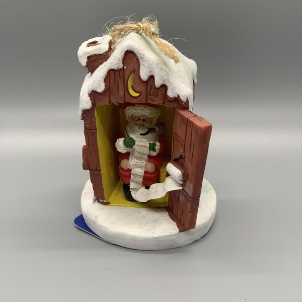 Santa in Outhouse Ornament