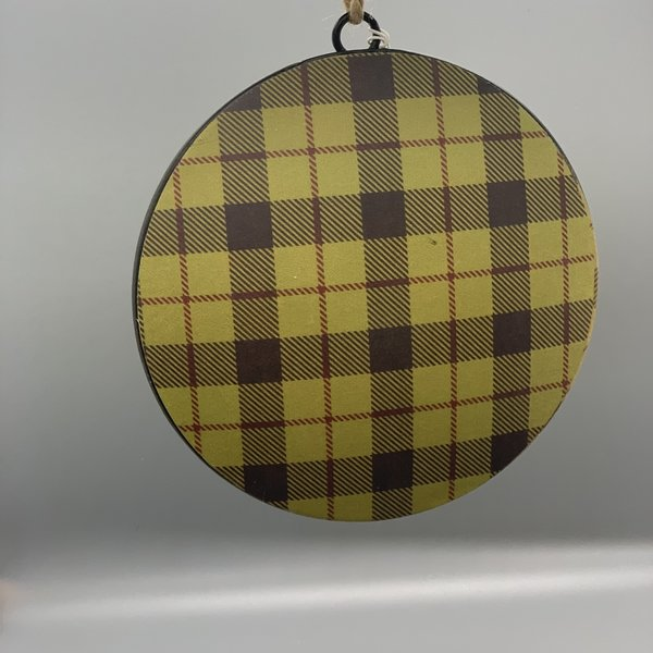 Woodland Stag & Plaid Disk Ornament