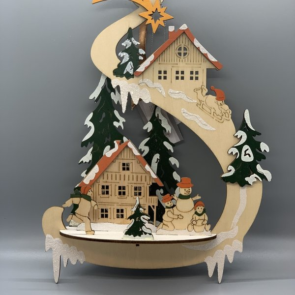 Winter Scene Wooden Ornament