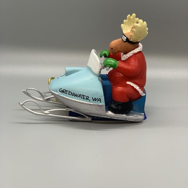 Moose on Snowmobile Ornament