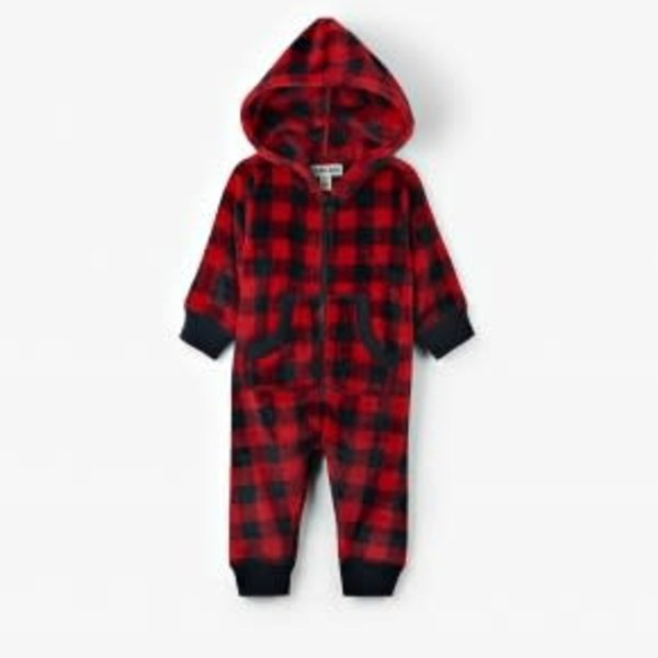 Infant Hooded Fleece Jumpsuit- Buffalo Plaid