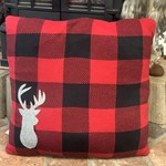 Buffalo Plaid Knit Pillow with Stag