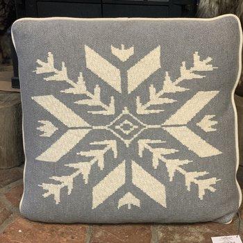 Snowflake Knit Pillow (Grey/White)