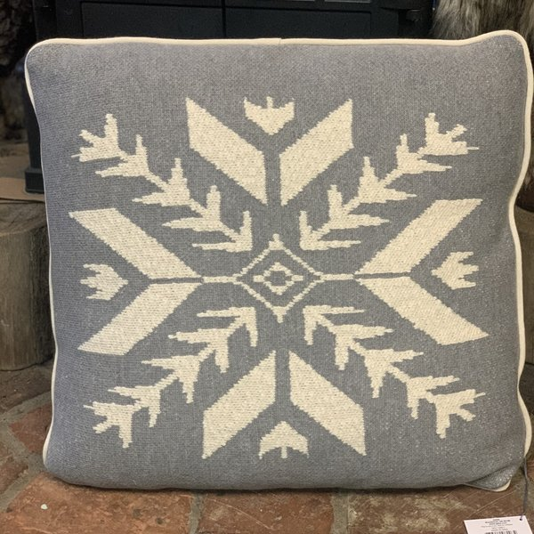 Snowflake Knit Pillow (Grey/White)