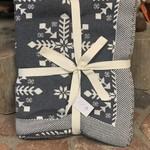 Knit Snowflake Throw - Grey/Ivory