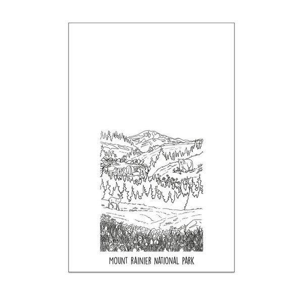 Mount Rainier National Park Tea Towel