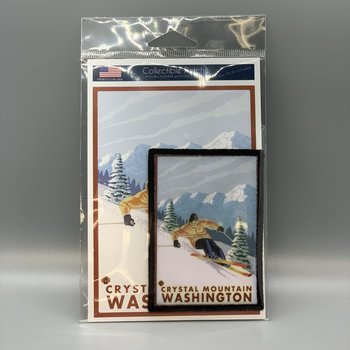 Crystal Mountain Downhill Skier Postcard with Patch
