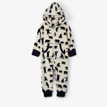 Infant Hooded Fleece Jumpsuit- Black Bear