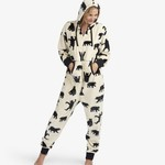 Adult Hooded Fleece Jumpsuit- Black Bears