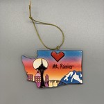 Mt. Rainier Love Washington Relief Ornament