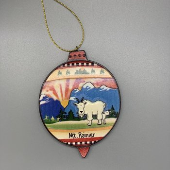 Mt. Rainier Mt Goat/baby Relief Ornament