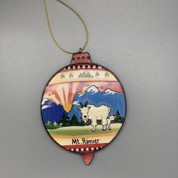 Mt. Rainier Mt Goat/baby Relief Ornament