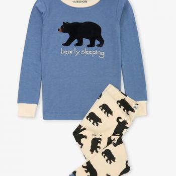 Black Bears Kids Bearly Sleeping Pajama Set
