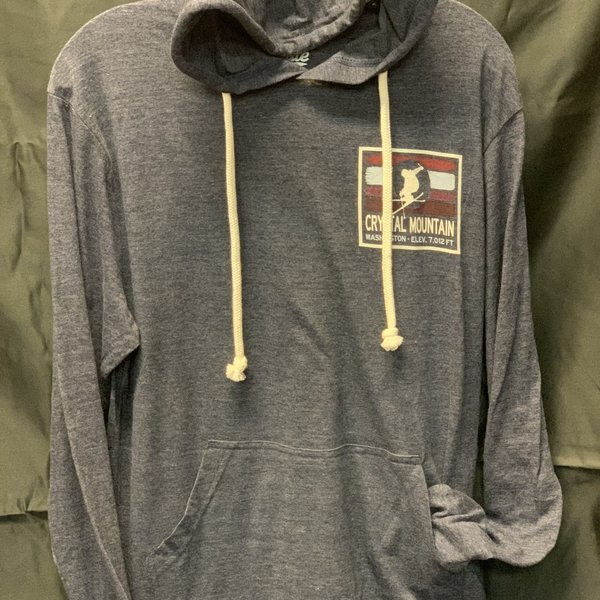 Men's Triblend Hooded Crystal Mountain L/S Tee