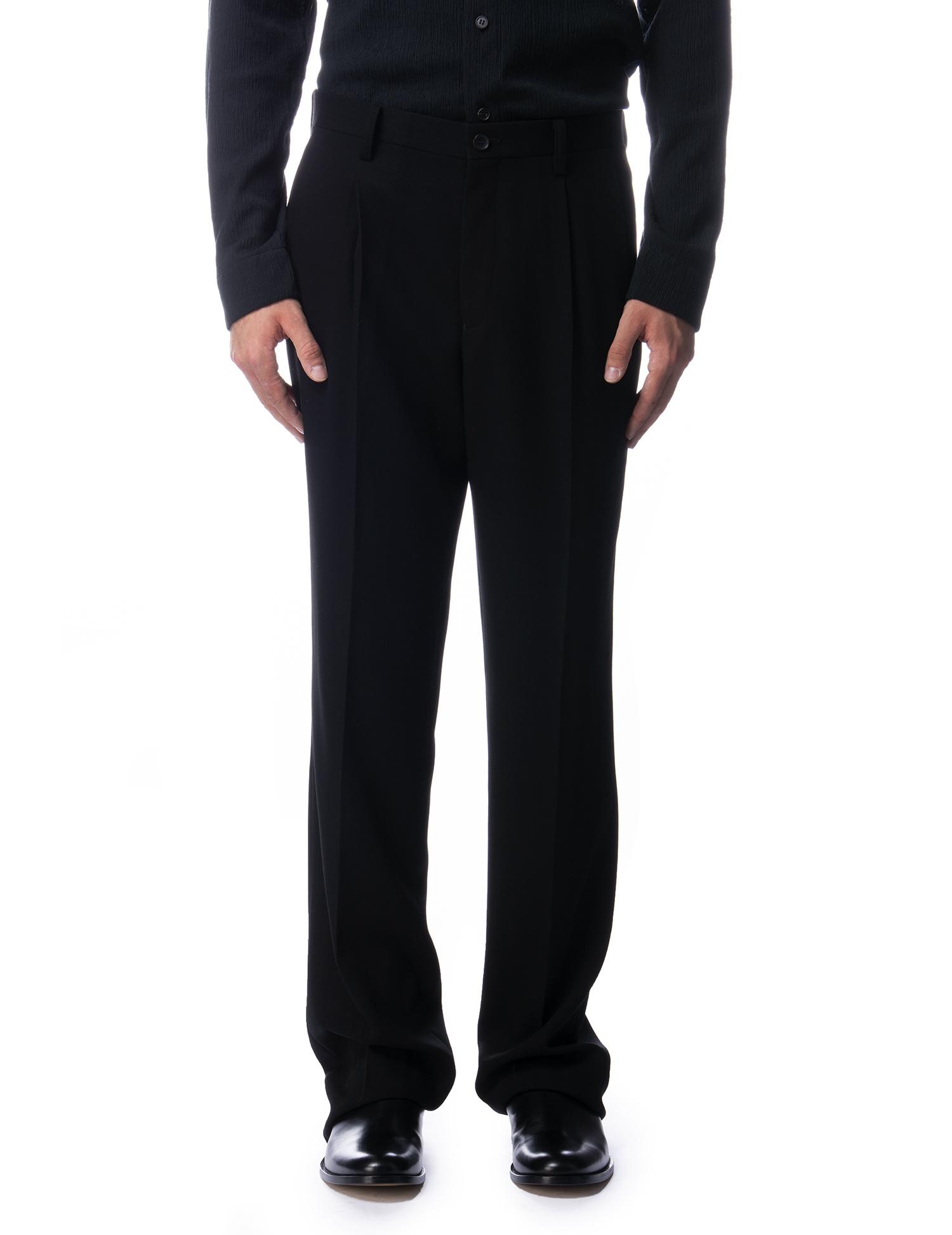 Black Wool Pleated Loose Trousers