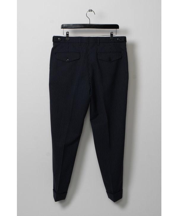 Pantalon à Rayures Fines Marine et Blanc