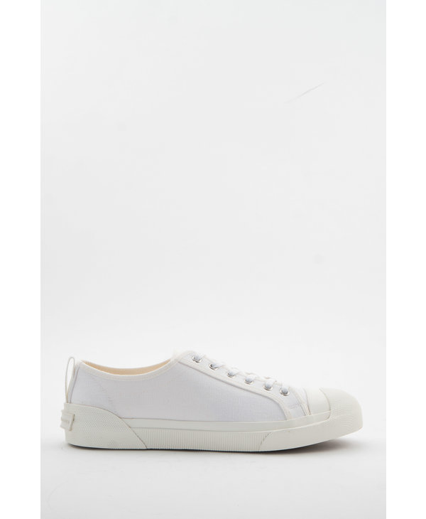 White Canvas Low-Top Sneakers