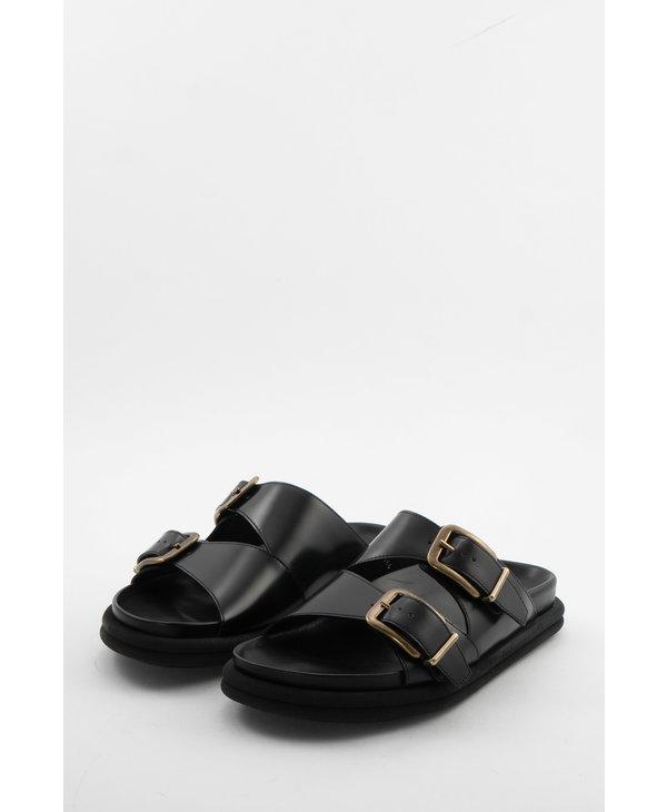 Sandales à Enfiler en Cuir Noir